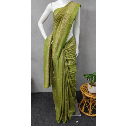 Pashmina Silk Pista Green Saree