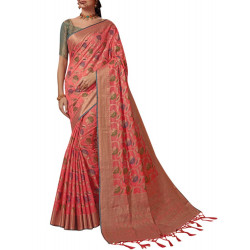 Fashionable Peach Color Saree